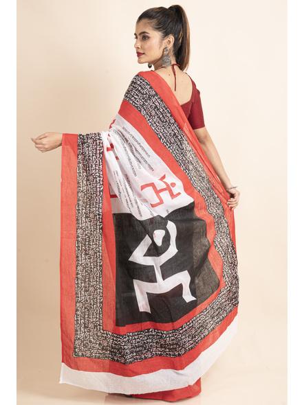 Mulmul Cotton White Red Black Swastik Scripted Saree-1
