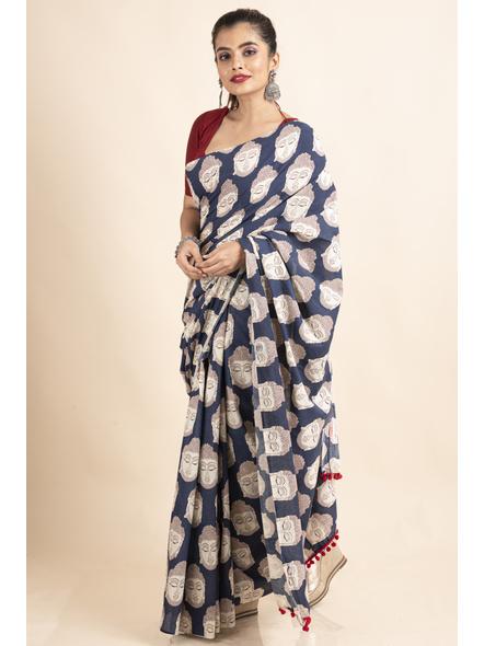 Pure Cotton Blue Buddha Kalamkari Pompom Saree-4