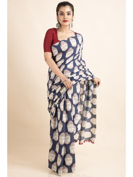 Pure Cotton Blue Buddha Kalamkari Pompom Saree-LAAPCKS004