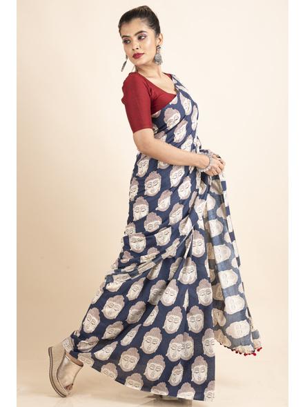 Pure Cotton Blue Buddha Kalamkari Pompom Saree-5