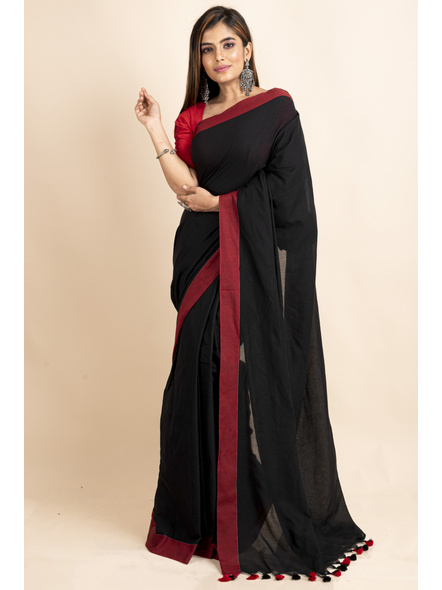Mercerized Handloom Black Red Khadi Cotton Saree with Pompom and Blouse Piece-3