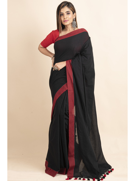 Mercerized Handloom Black Red Khadi Cotton Saree with Pompom and Blouse Piece-LAAMHCWBP023
