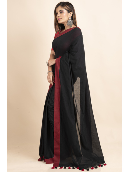 Mercerized Handloom Black Red Khadi Cotton Saree with Pompom and Blouse Piece-4