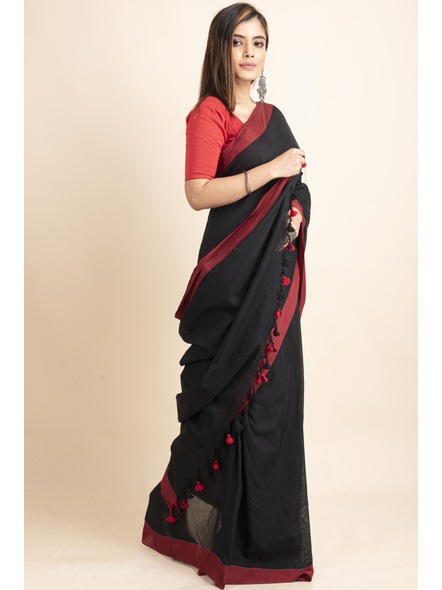 Mercerized Handloom Black Red Khadi Cotton Saree with Pompom and Blouse Piece-2