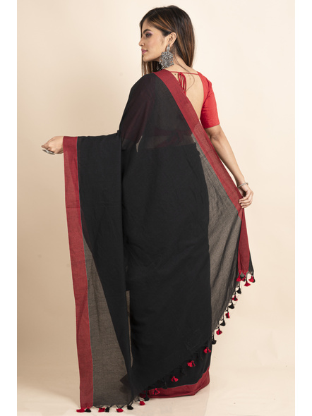 Mercerized Handloom Black Red Khadi Cotton Saree with Pompom and Blouse Piece-1