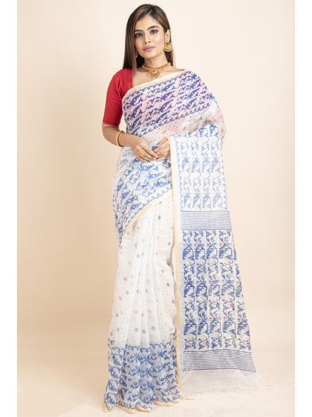White Blue Jamdani Printed Golden Border Saree-LAAPCS018