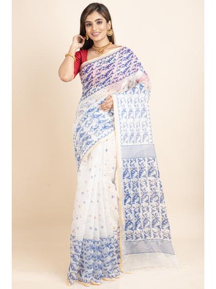 White Blue Jamdani Printed Golden Border Saree-3