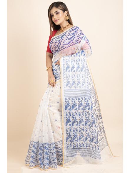 White Blue Jamdani Printed Golden Border Saree-2