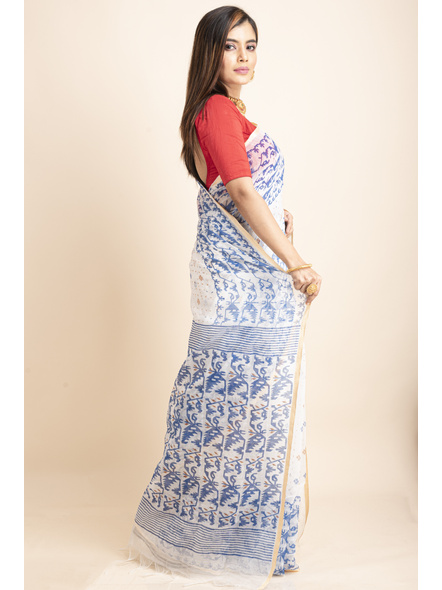 White Blue Jamdani Printed Golden Border Saree-4