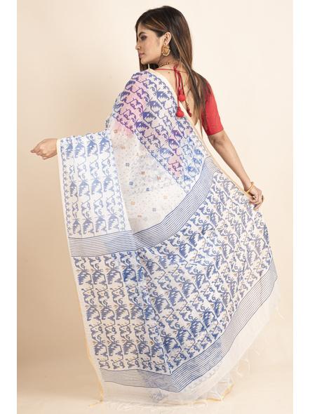 White Blue Jamdani Printed Golden Border Saree-1