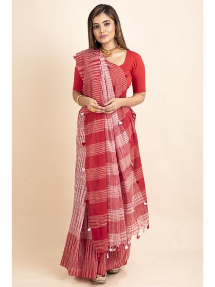 Pure Cotton Red White Santipuri Pompom Jharna Khadi Saree-LAAJKCS001