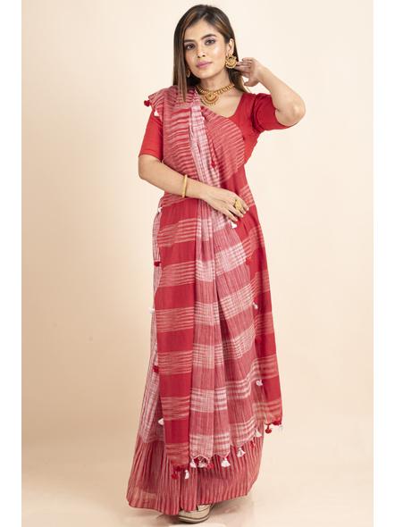Pure Cotton Red White Santipuri Pompom Jharna Khadi Saree-3