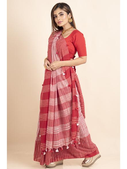 Pure Cotton Red White Santipuri Pompom Jharna Khadi Saree-4