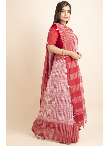 Pure Cotton Red White Santipuri Pompom Jharna Khadi Saree-2