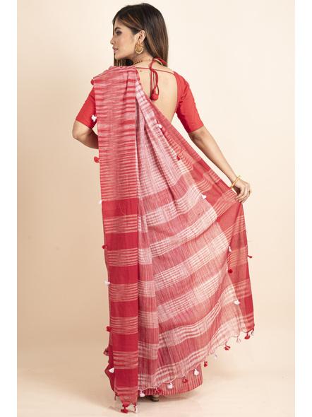 Pure Cotton Red White Santipuri Pompom Jharna Khadi Saree-1