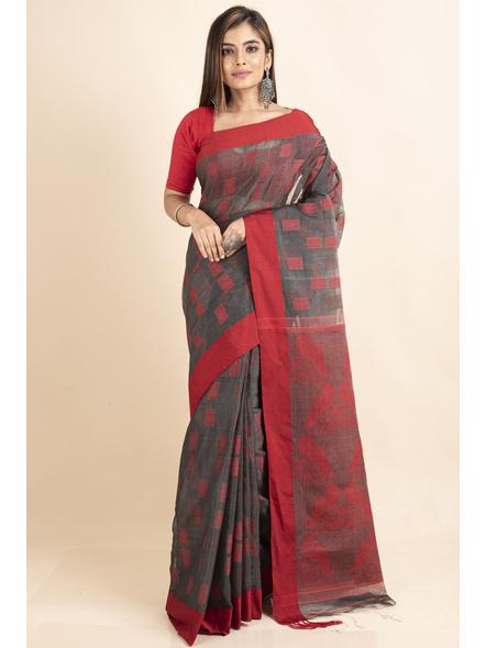 Red Grey Jamdani Weaved Cotton Silk Saree with Blouse Piece-LAACSHS007