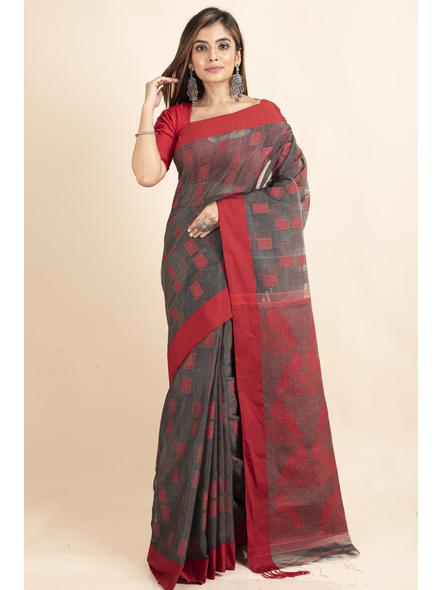 Red Grey Jamdani Weaved Cotton Silk Saree with Blouse Piece-5
