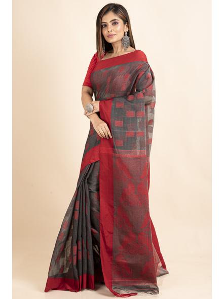 Red Grey Jamdani Weaved Cotton Silk Saree with Blouse Piece-4