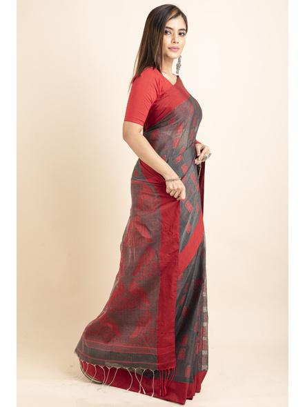 Red Grey Jamdani Weaved Cotton Silk Saree with Blouse Piece-2