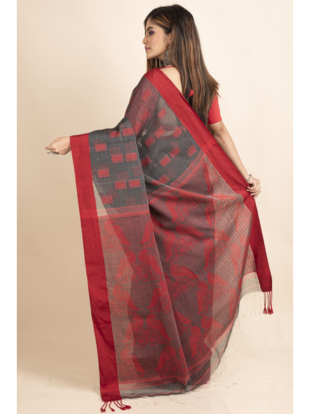 Red Grey Jamdani Weaved Cotton Silk Saree with Blouse Piece-1