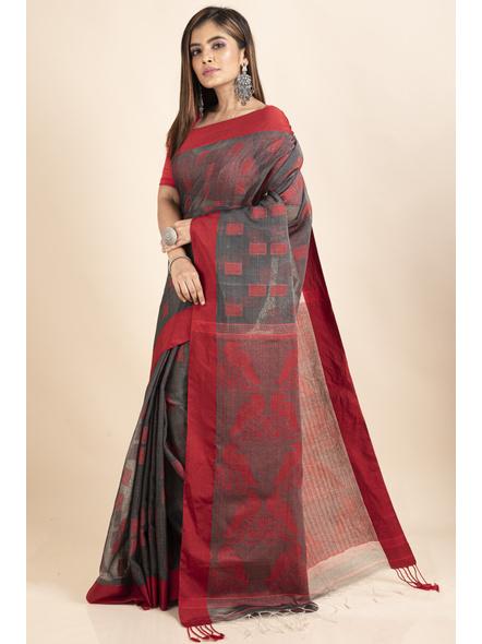 Red Grey Jamdani Weaved Cotton Silk Saree with Blouse Piece-3