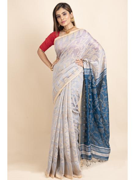 Silver Grey Blue Cotton Silk Jamdani Lotus Woven Temple Border Saree with Blouse Piece-LAACSHS008