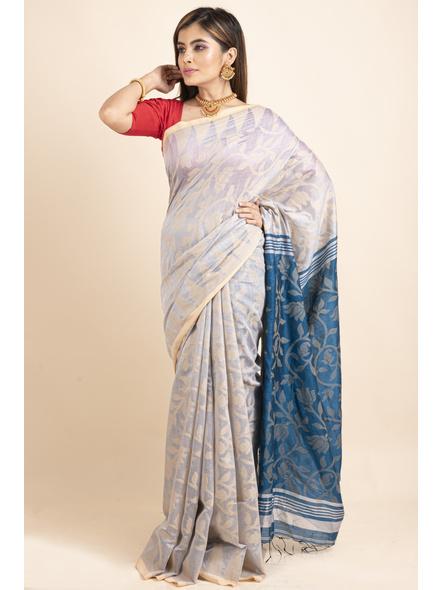 Silver Grey Blue Cotton Silk Jamdani Lotus Woven Temple Border Saree with Blouse Piece-5