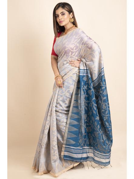 Silver Grey Blue Cotton Silk Jamdani Lotus Woven Temple Border Saree with Blouse Piece-2