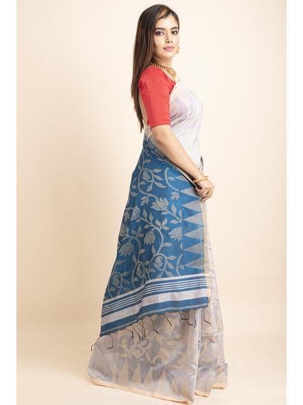 Silver Grey Blue Cotton Silk Jamdani Lotus Woven Temple Border Saree with Blouse Piece-3