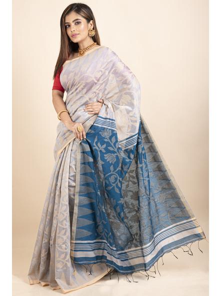 Silver Grey Blue Cotton Silk Jamdani Lotus Woven Temple Border Saree with Blouse Piece-4