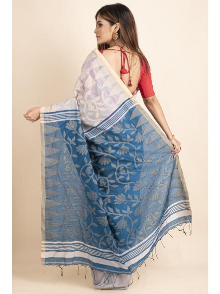 Silver Grey Blue Cotton Silk Jamdani Lotus Woven Temple Border Saree with Blouse Piece-1