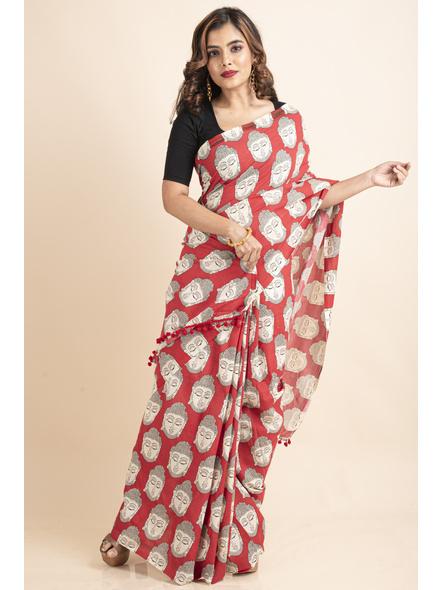 Pure Cotton Red Buddha Kalamkari Pompom Saree-LAAPCKS005