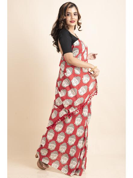 Pure Cotton Red Buddha Kalamkari Pompom Saree-3