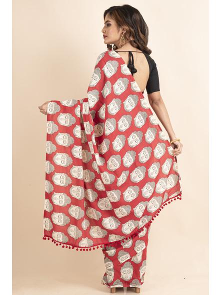 Pure Cotton Red Buddha Kalamkari Pompom Saree-1