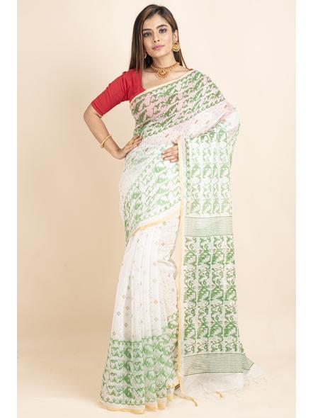 White Green Jamdani Printed Golden Border Saree-LAAPCS019