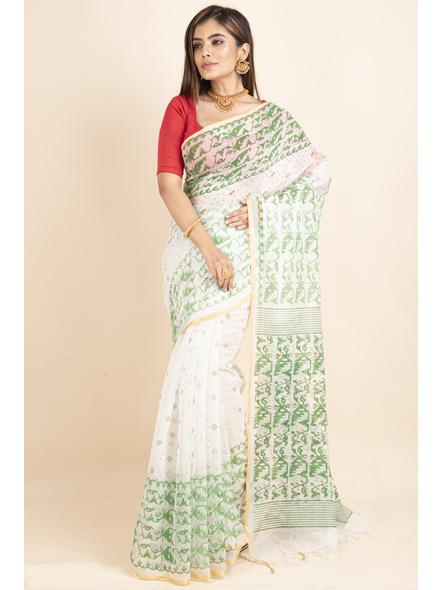 White Green Jamdani Printed Golden Border Saree-3