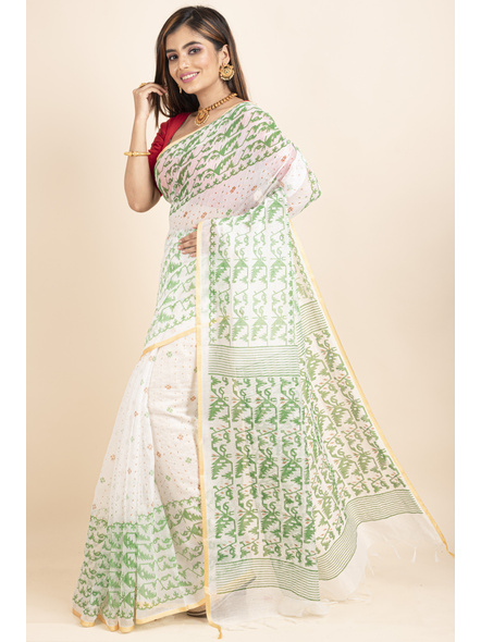 White Green Jamdani Printed Golden Border Saree-2