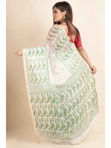 White Green Jamdani Printed Golden Border Saree-1
