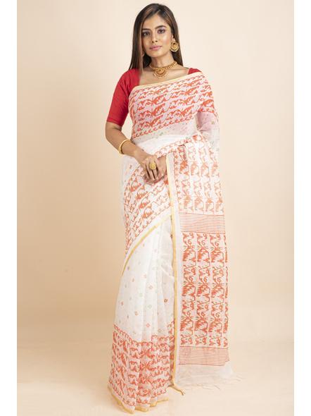 White Orange Jamdani Printed Golden Border Saree-LAAPCS020