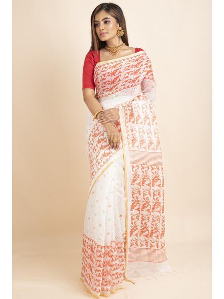 White Orange Jamdani Printed Golden Border Saree-4