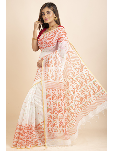 White Orange Jamdani Printed Golden Border Saree-2