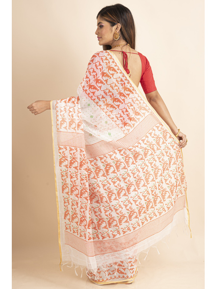 White Orange Jamdani Printed Golden Border Saree-1