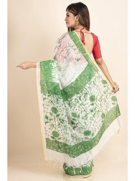 White Green Batik Printed Golden Border Saree-1