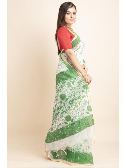 White Green Batik Printed Golden Border Saree-4