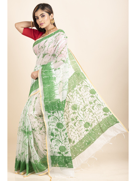 White Green Batik Printed Golden Border Saree-2