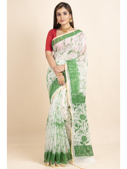 White Green Batik Printed Golden Border Saree-LAAPCS021