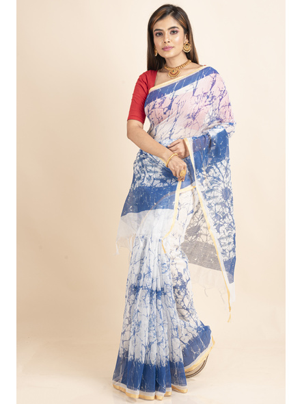 White Blue Batik Printed Golden Border Saree-LAAPCS022