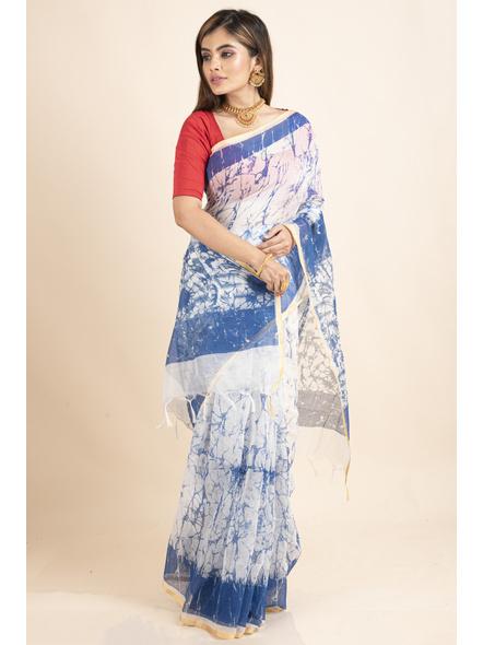 White Blue Batik Printed Golden Border Saree-5