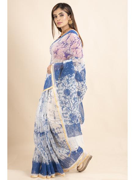 White Blue Batik Printed Golden Border Saree-4