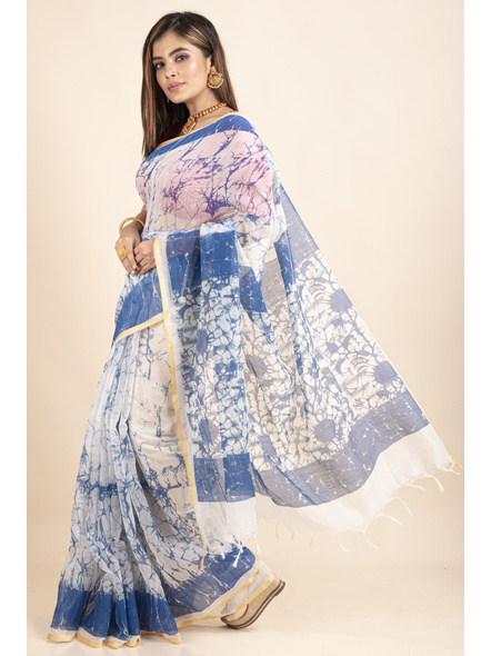 White Blue Batik Printed Golden Border Saree-2